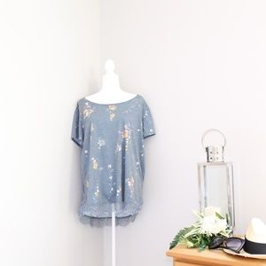 LC Lauren Conrad Floral Lace Hem Hi Low Top Sz XXL